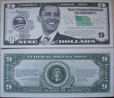 Biglietto SEGNALIBRO banconota DOLLARO Presidente USA America OBAMA 2008-2016