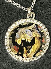 "Dinosaur Tyrannosaurus Rex Charm Round Glass Tibetan Silver with 18"" Necklace B"