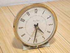 Vintage Westclox Big Ben Repeater Alarm Desk Clock White Cream Gold Working