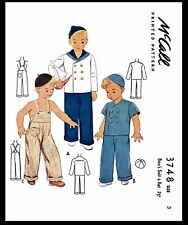 BOY'S Nautical Sailor Suit & Overalls Sewing Pattern Vintage McCall #3748 Sz~3~