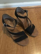 Women's Toms Wedge Strappy Sandals Size 7.5 Black