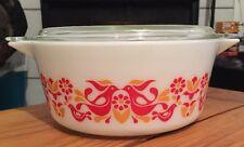 Vintage Pyrex 475 Friendship Birds 2 1/2 Quart Casserole Dish w Lid Vintage Red