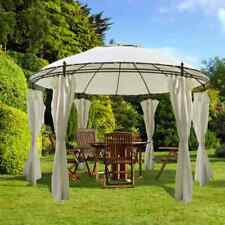 vidaXL Gazebo with Curtains 3.5x2.7m Cream White Round Marquee Shelter Tent