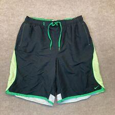 New listing Nike Men's Swim Trunks Retro XL Green Black Lined Drawstring Throwback
