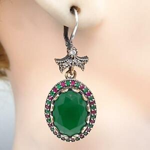 Deco 14.40ctw Emerald, Ruby & Diamond Cut Sapphire 14K Yellow Gold 925 Earrings