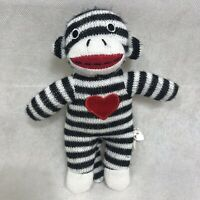 "Dan Dee Collector's Choice 10 "" Black White  Striped Monkey Plush Heart Sweater"