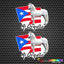 2x  HORSE CABALLO MI ORGULLO WITH PUERTO RICO FLAG VINYL CAR STICKERS DECALS