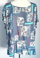 White Stuff Women's Top Blue Size 18 Floral Boxy Casual VGC