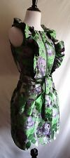 Samuel Dong XS Green & Purple Tapestry Ruffled Zip Front Formal Cocktail Dress