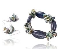 E2 Beads Shell Stretch Bracelet Earring Set Dark Gray Green