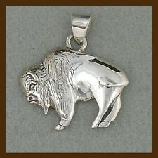 big buffalo pendant, 925 sterling silver,navahopi, american native, handcrafted