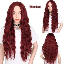 US Full Women Lace Front Wigs Long Black Brown Wine Red Wig Curly Wig 4 Colors