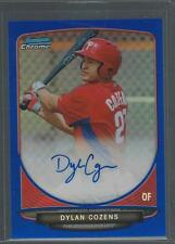 2013 Bowman Chrome Dylan Cozens Phillies Blue Refractor Auto RC /150