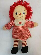 "Vintage Rare Raggedy Ann Doll 16"" Knickerbocker Red Checkered Dress A10"
