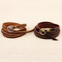 Fashion Unisex Mutilayers Punk Genuine Leather Bangle Chain Bracelet Wristband