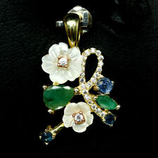 NATURAL GREEN EMERALD SAPPHIRE MOTHER FO PEARL & CZ PENDANT 925 SILVER