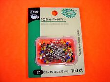 "Dritz 100 Glass Head Pins - Size 20 - 1 1/4"" Long - Heat Resistant Heads"