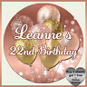 Personalised BLING BALLOONS Stickers Birthday Party Labels Hen Rose Gold #4