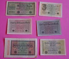 6 BANKNOTEN / INFLATIONS - GELDSCHEINE / REICHSBANK / WEIMARER REPUBLIK / Pack 3