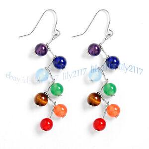 Fashion Tigers Eye Jade Amethyst Gems Round Beads Dangle Silver Hook Earrings