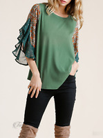 Umgee | Forest Floral & Animal Print Split Bell Sleeve Side Slit Round Hem Top