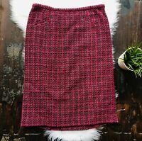 PENDLETON Pink Black Pencil Skirt Wool Blend Women's 12 EUC