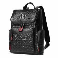 Men Genuine Cow Leather Backpack Handbag Book 14'' Laoptop Bag Travel Crocodile