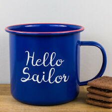 NUOVO Jones Home & Regalo Hello Sailor Smalto Tazza Blu Rosso Nautico tazza grande 550 ML