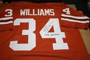 TEXAS LONGHORNS RICKY WILLIAMS #34 SIGNED CUSTOM JERSEY 1998 HEISMAN JSA WIT