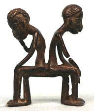 Art Africain - Figurines Bronze Lobi - Couple de Penseurs - Burkina Faso - 9 Cms