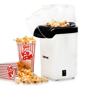 Geepas Popcorn Maker Fat Free Hot Air Large Popper Electric Machine 1200W