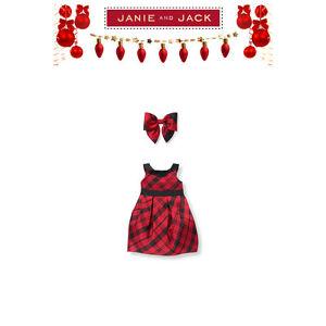 Janie and Jack Girl Holiday Christmas Special Silk Dress 2-Piece Set NWT Size 6