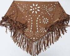 NWT JUSTIN & TAYLOR Women's Brown Fringe Western Wrap Shawl One Size
