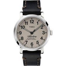 Timex TW2P58800, Men's Black Leather Watch, Indiglo, Waterbury Collection