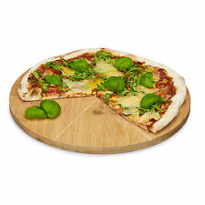 Pizzateller rund Bambus Pizzabrett Pizzaschneidebrett Holzteller 33 cm Teller