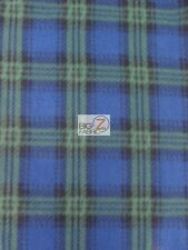 SCOT CHECKERED GREEN FLEECE POLAR PRINTED FABRIC BY THE YARD DIY BLANKET PAJAMAS