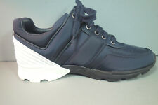 CHANEL 40 Navy Nylon White Leather Lace Up Sneakers Tennis Shoes Trainers NEW