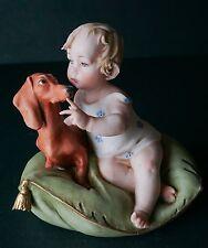 G Cappe Works of Art Italy Girl & Dog Figurine