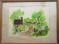 Old Folk Art Watercolor Painting Farm Scene signed V.Hartling