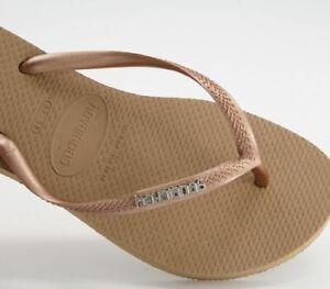 Womens Havaianas Slim Logo Metallic Flip Flops Rose Gold Sandals