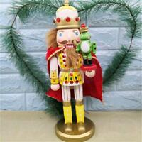 "14.9""Frog Prince Walnut Soldier Wooden Nutcracker Soldiers Xmas Table Decoration"