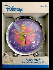 NEW DISNEY METAL MINT GREEN TINKERBELL FOOTED ALARM CLOCK BACK ALARM SHUT-OFF 5""