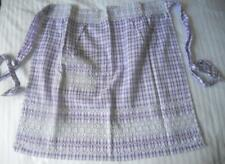 VINTAGE 1960'S PURPLE CHECK COTTON HALF APRON CHICKEN SCRATCH RIC RAC EMBROIDERY