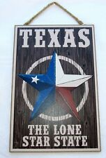 """Texas """"The Lone Star State""""  Wooden Sign   7"""" x 10.5"""""""