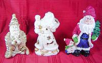 Vintage Santa Claus Figurines Christmas Tealight Holders Ceramic Resin Set of 3