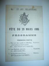 FRANC-MACONNERIE BRUXELLES PROGRAMME 1885 MASSENET