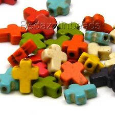 50 Assorted Color Magnesite Little 10mm Cross Stone Beads with 1.5mm Hole