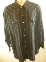 Mens sz 3XL Ely Cattleman Big Black Western Pearl Snap Shirt Long Sleeve Striped