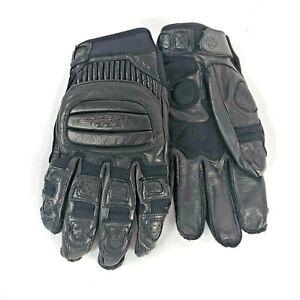 Black Harley Davidson Mens Medium Leather Full Finger Gloves Wrist Strap Padding