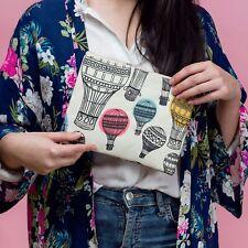 Hot Air Balloon Oilcloth Canvas Make Up Bag Zip Pouch Gift Travel